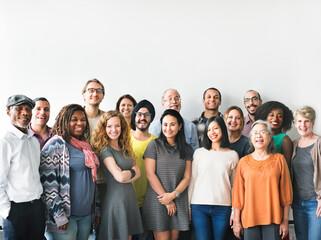 Fototapeta A team of diverse people doing a group photo obraz