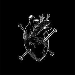 Nails through a heart illustrated - fototapety na wymiar