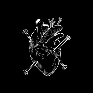 Nails through a heart illustrated
