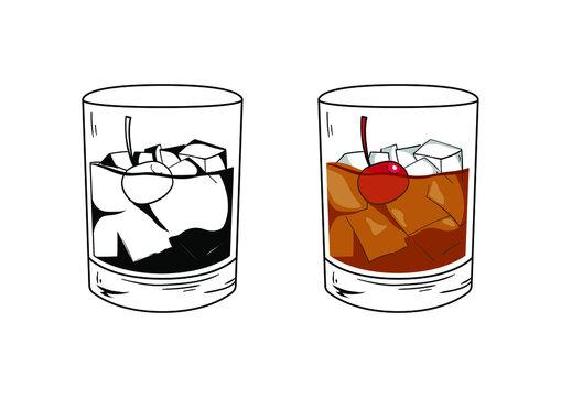Whiskey and Coke with cherry garnish.