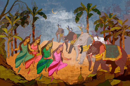 Ancient frescoes. Gods of India. Ramayana. Dancing goddesses in the jungle. Religion. Hinduism. Traditional indian mural paintings style. Old Asian culture. Mythology, tradition and history