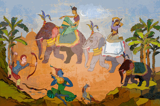 Traditional indian mural paintings style. Old Asian culture. Gods of India. Mythology, tradition and history. Religion. Hinduism. Vishnu and Shiva. Dancing goddesses in the jungle. Ancient frescoes