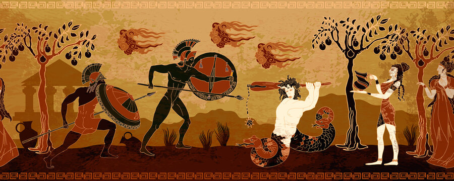 Ancient Greece banner. Myth and legends. History and culture. Classical medieval style. Vector illustration
