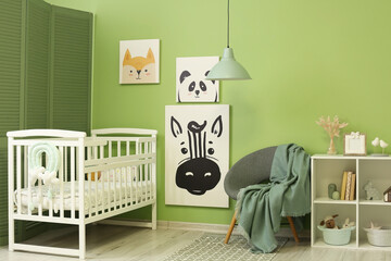 Obraz Interior of stylish children's room with comfortable bed - fototapety do salonu