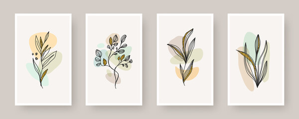 Set of wall art poster. Abstract shape and line art plant with glitter gold, Boho style botanical design for cover, print, poster, wall decoration. Vector floral design.