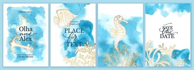 Fototapeta Set of wedding cards, invitation. Save the date sea style design. Blue watercolor wash. Summer background. obraz