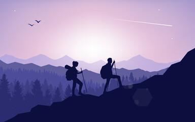 Een paar reizigers klimmen naar de topberg. Abstract landschap, veelhoekige landschap vectorillustratie, minimalistische stijl, plat ontwerp. Reisconcept van ontdekken, verkennen. Avontuurlijk toerisme