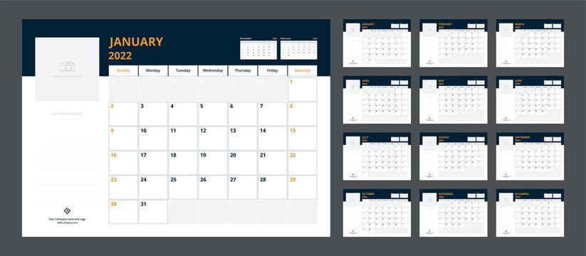 2022 calendar planner set for template corporate design week start on Sunday.