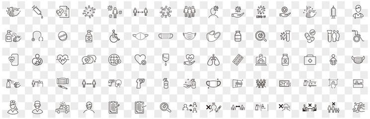 Obraz Set of Coronavirus and Vaccine line icons, covid19, Medical mask, health, contagious, epidemic, outbreak, Vector - fototapety do salonu