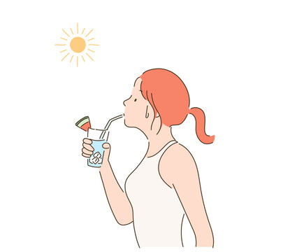 A woman drinking a drink under the hot sun. hand drawn style vector design illustrations.