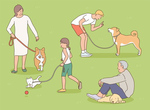 People are taking a walk in the park with their dogs. hand drawn style vector design illustrations.
