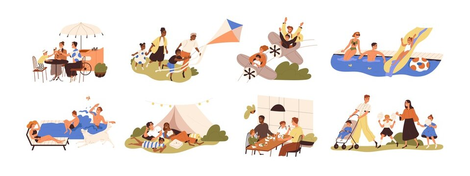 Set of happy families with children during outdoor recreation activities on summer holidays. Parents and kids eating, resting and playing together. Flat graphic vector illustration isolated on white