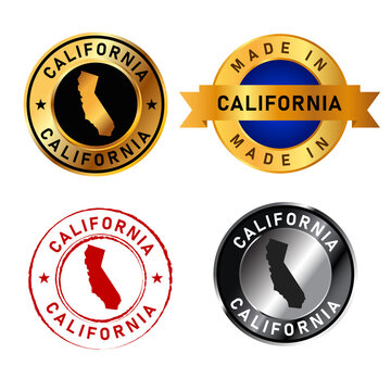 California badges gold stamp rubber band circle with map shape of country states America