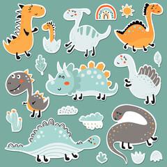 Fototapeta Dinosaur baby stickers set obraz