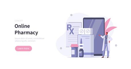 Obraz Doctor pharmacist in drugstore standing near smartphone and presenting medicine pills and bottles. Online pharmacy store concept. Flat cartoon vector illustration. - fototapety do salonu