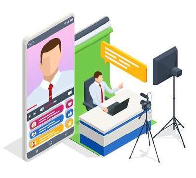 Isometric Video Blogger Recording Video With Camera. Journalist. Tutorial Blogger, Blog Online, Web Vlogger. Online Influencer Vlogger Girl Cocial Media Live Steaming Concept