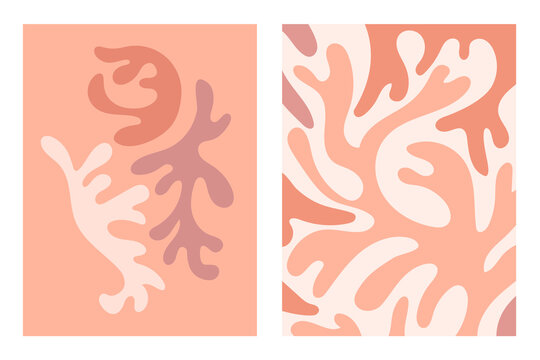 Matisse Abstract contemporary aesthetic background set with natural balance shapes. Boho wall decor. Mid century modern minimalist print. Organic shape.  Earth tones, terracotta colors. Flat art.