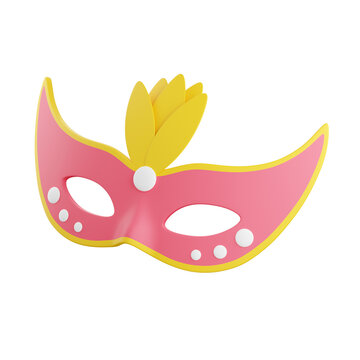 Carnival mask 3d render illustration. Pink face masquerade mask decorated with yellow feathers.