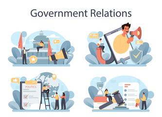 Obraz Government PR set. Political party or political institutions public - fototapety do salonu
