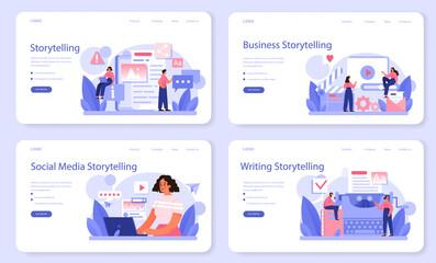 Obraz Storytelling web banner or landing page set. Professional speechwriter - fototapety do salonu