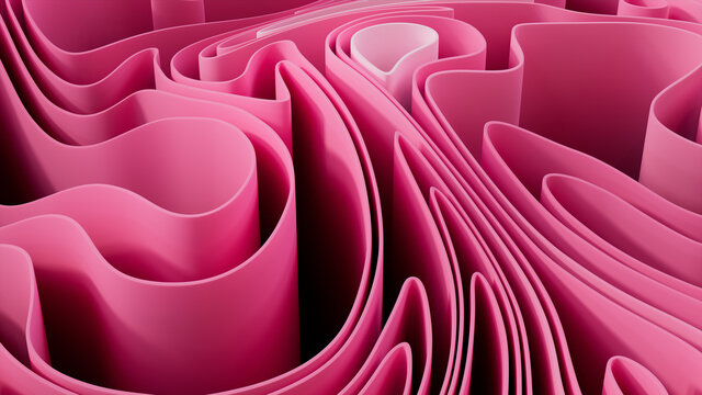 Pink 3D Ribbons ripple to make a Colorful abstract wallpaper. 3D Render.