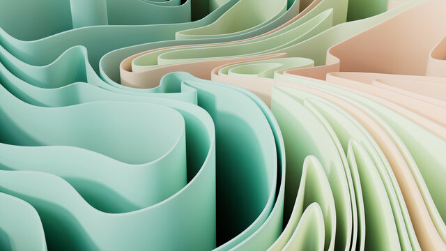 Abstract background formed from Pastel colored 3D Ribbons. Multicolored 3D Render.