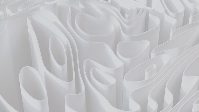 Abstract background created from White 3D Waves. Light 3D Render.
