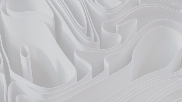 White 3D Waves form a Light abstract background. 3D Render.