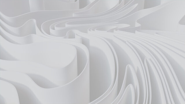 Abstract wallpaper formed from White 3D Ribbons. Light 3D Render.