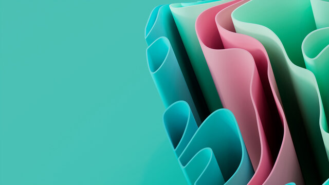 Pink and Green 3D Ribbons arranged to create a Multicolored abstract wallpaper. 3D Render with copy-space.