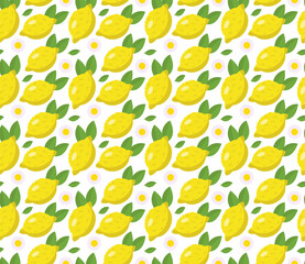 Fototapeta Tropical seamless pattern with yellow lemons. Fruit repeated background. Vector bright print for fabric or wallpaper. obraz