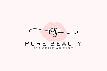 Fototapeta Initial OS Watercolor Lips Premade Logo Design, Logo for Makeup Artist Business Branding, Blush Beauty Boutique Logo Design, Calligraphy Logo with creative template. obraz