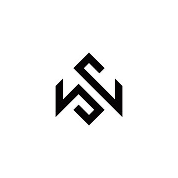 w s ws sw initial logo design vector template