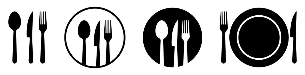 Set of cutlery. Fork, knife, spoon and plate. Vector illustration isolated on white background