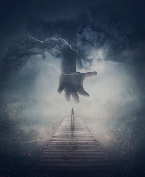 Surreal scene, a man on a pier and a scary giant hand comes from the mist and lightnings. Wormhole teleport to another world through the storm. Mysterious wonderland, fantastic adventure concept