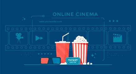 Fototapeta Online cinema banner concept with popcorn, film-strip, and 3d glasses. Movie streaming illustration for landing page, web, poster. obraz