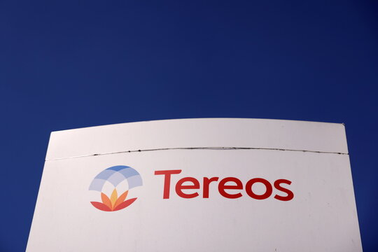 Tereos logo at the entrance of the company's sugar factory in Escaudoeuvres
