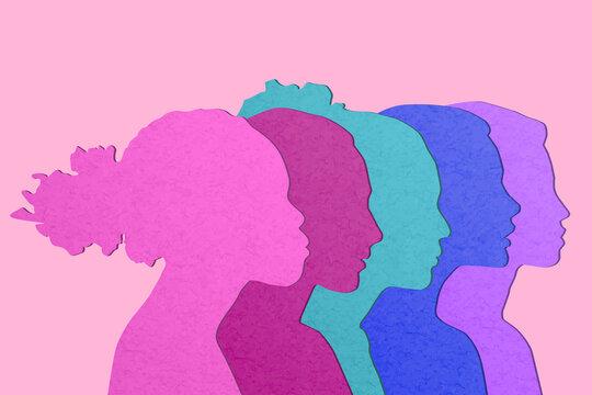 Multiethnic women communicate, vector illustration. Female faces of diverse cultures in propfile. 3D papercut diverse culture girl's silhouettes.