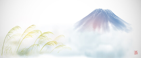 Green grass on the wind and blue Fujiyama mountain on white background. Traditional oriental ink painting sumi-e, u-sin, go-hua. Translation of hieroglyph - wind