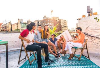 Obraz Group of friends having party on a rooftop - fototapety do salonu