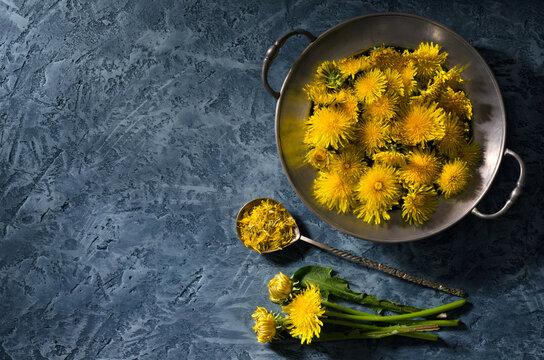 Dandelions in vintage dishes