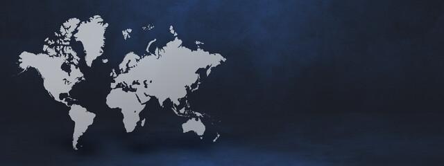 World map on black wall background. 3D illustration. Horizontal banner