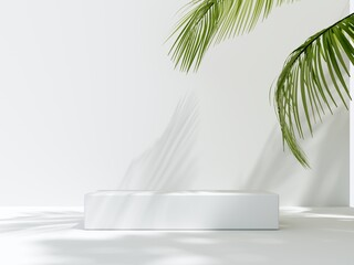 Obraz 3D render podium, showcase on light white background with shadows in green tropical leaves of plants. Abstract natural,organic background for advertising products, spa body care, relaxation, health. - fototapety do salonu