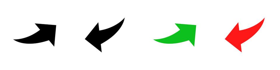 Fototapeta Conjunto de iconos de flecha curva hacia arriba y abajo, estilo silueta negro, verde y rojo. Ilustración vectorial obraz
