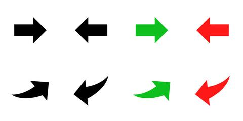 Fototapeta Conjunto de iconos de flecha curva y simple,  hacia arriba y abajo, estilo silueta negro, verde y rojo. Ilustración vectorial obraz
