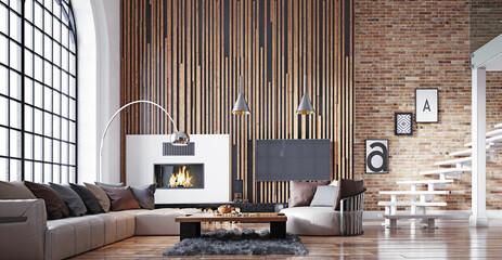 Obraz modern living interior. - fototapety do salonu