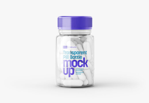Transparent Pill Bottle Mockup