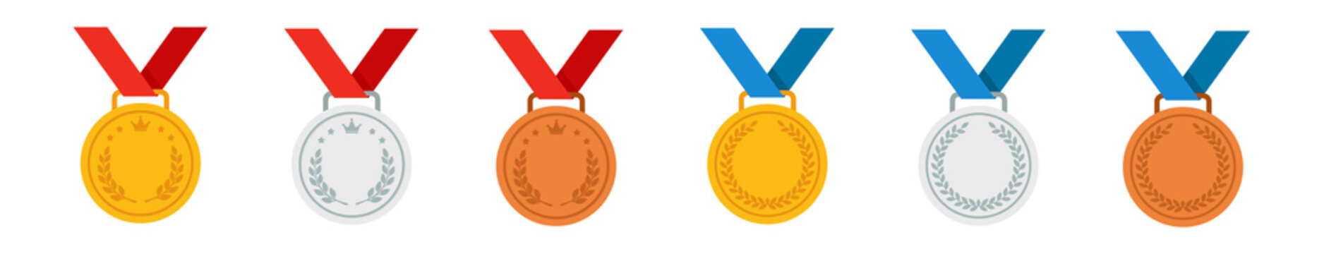 Set of gold, silver and bronze medals. Vector icon