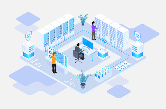 data center or server room processing data operation with security protection and maintenance with isometric design style - vector