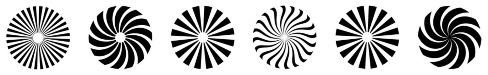 Sunburst element. Radial stripes. Set of vintage hand drawn sunburst rays design elements, explosion, fireworks black ray's. Sunburst backgrounds. Vector illustration.